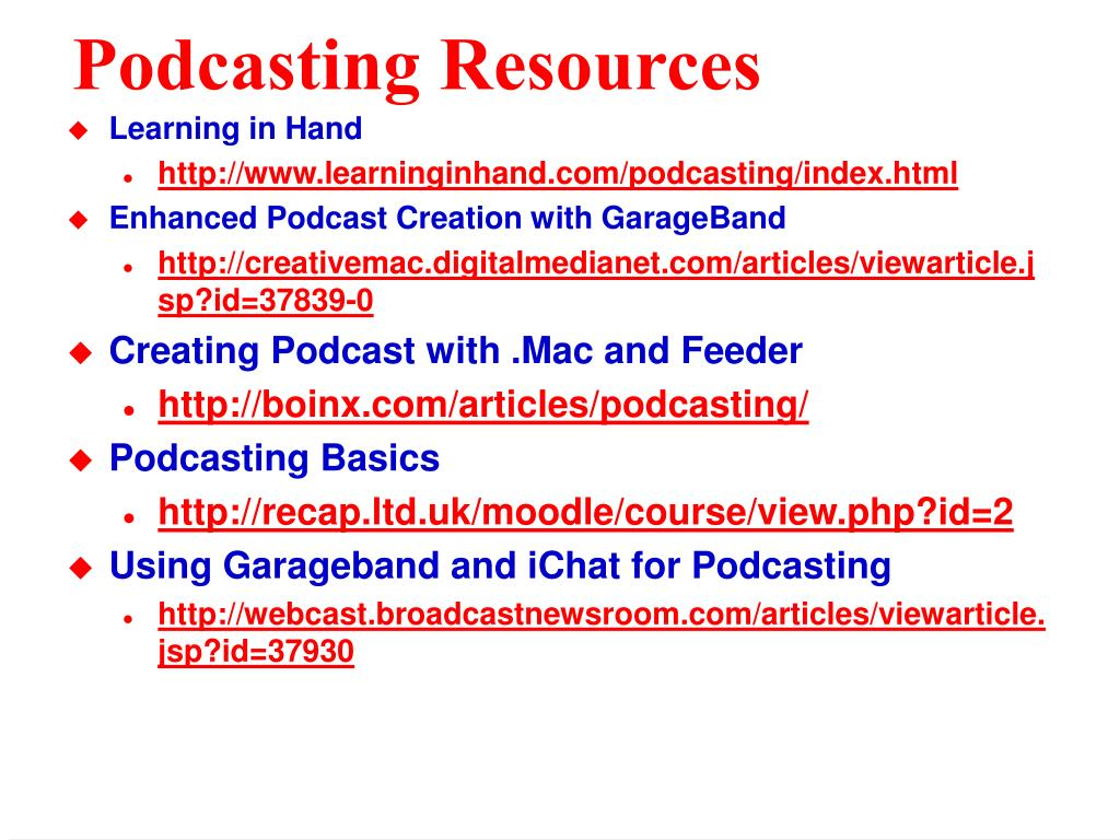 Podcasting Resources