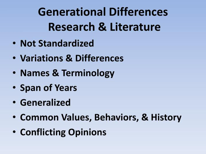 Generational differences research literature