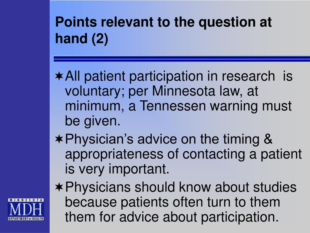 Points relevant to the question at hand (2)