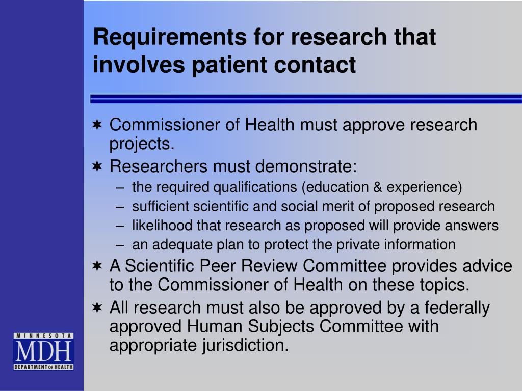 Requirements for research that involves patient contact