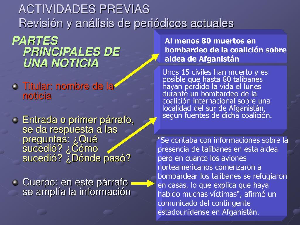 PARTES PRINCIPALES DE UNA NOTICIA