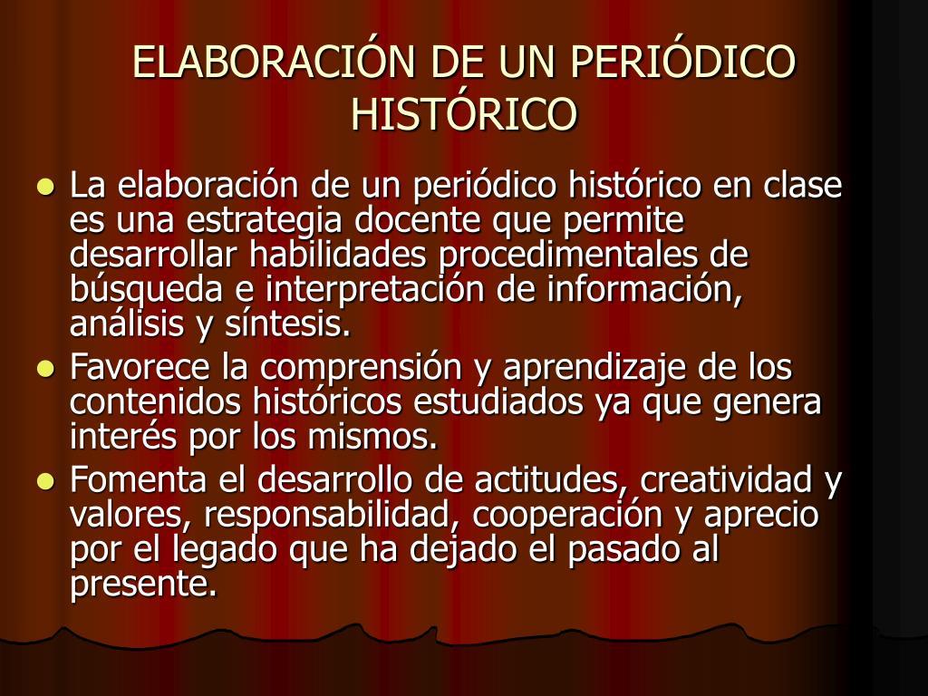 ELABORACIÓN DE UN PERIÓDICO HISTÓRICO
