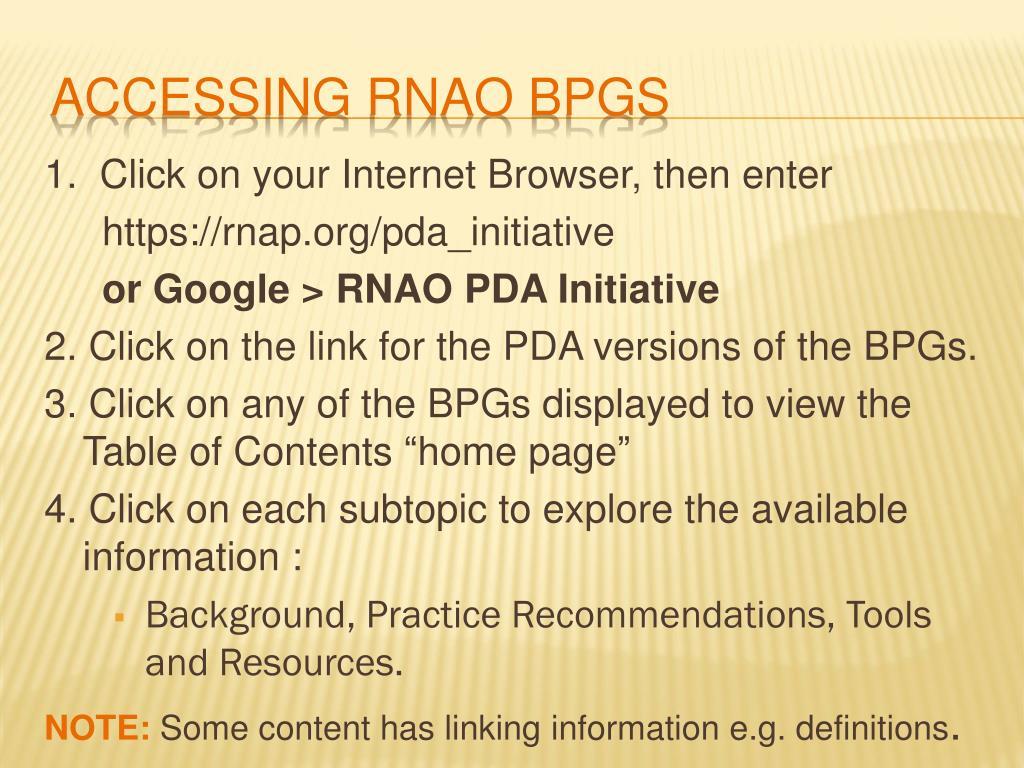 Accessing RNAO BPGs
