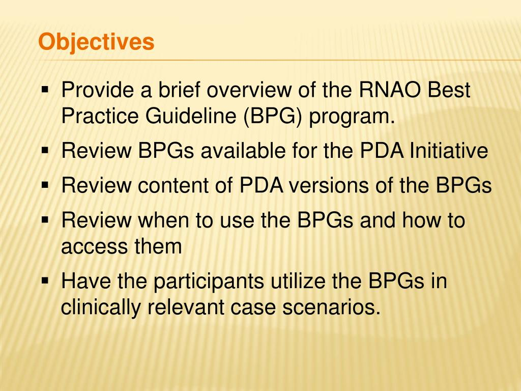 Provide a brief overview of the RNAO Best          Practice Guideline (BPG) program.