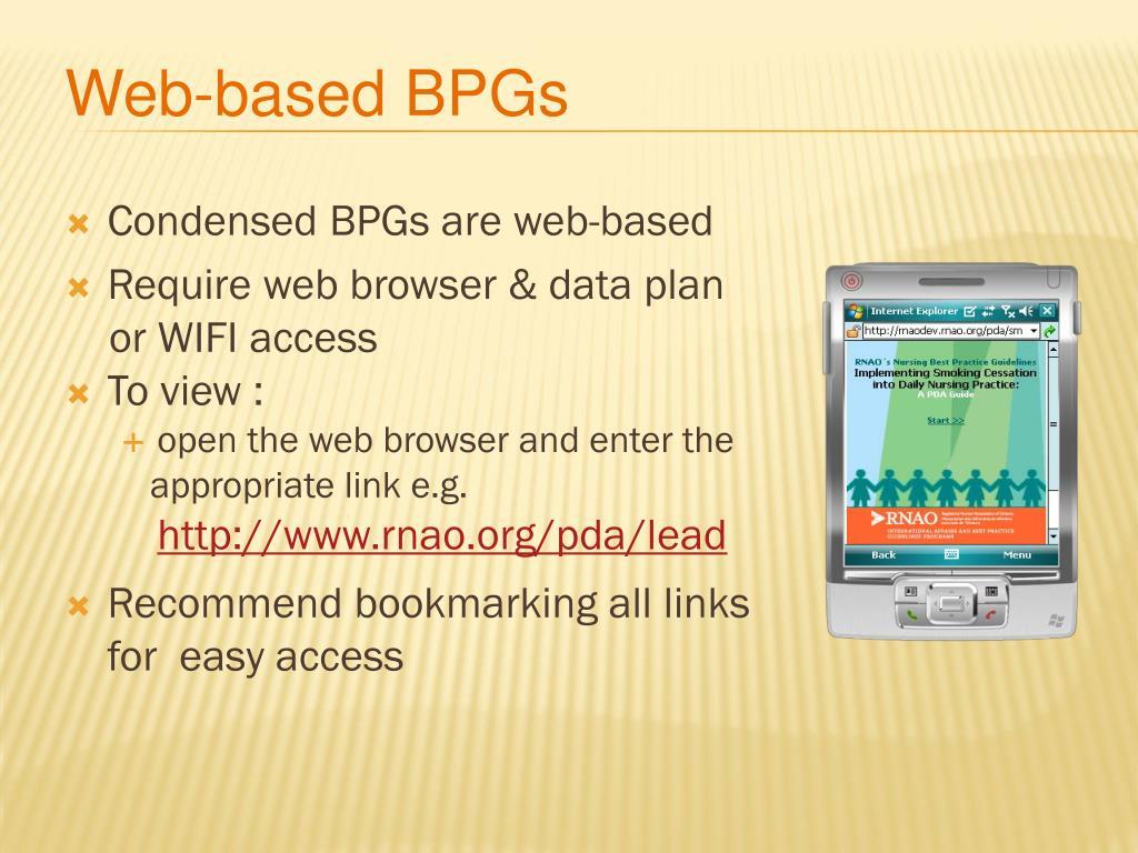 Web-based BPGs