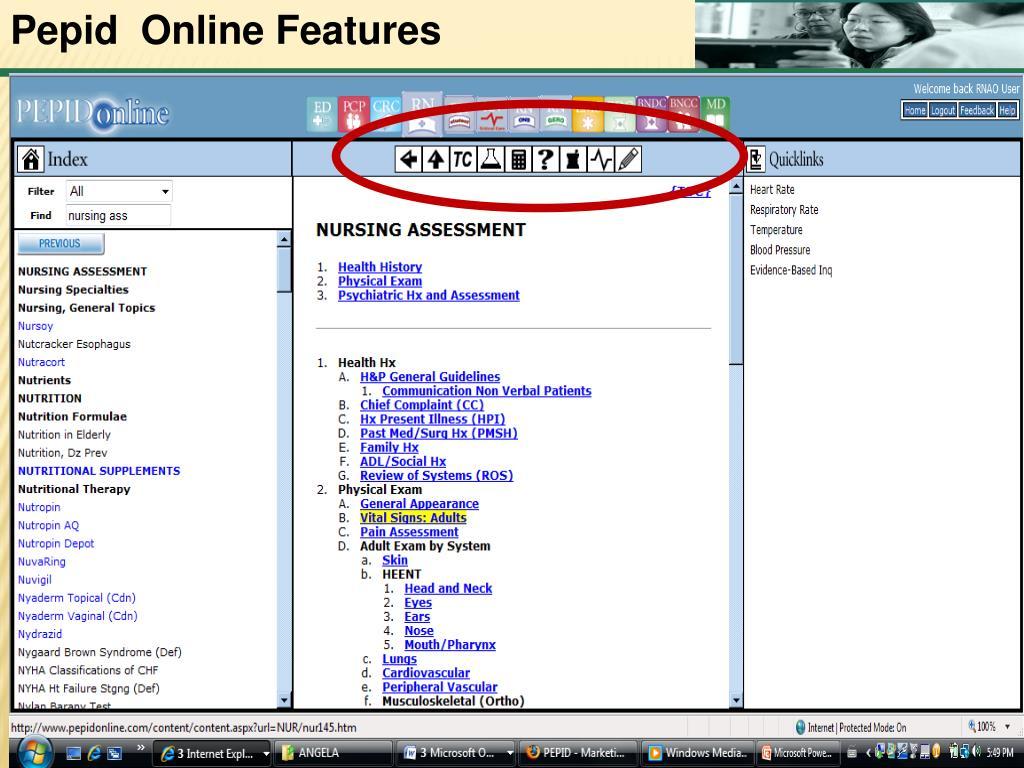 Pepid  Online Features