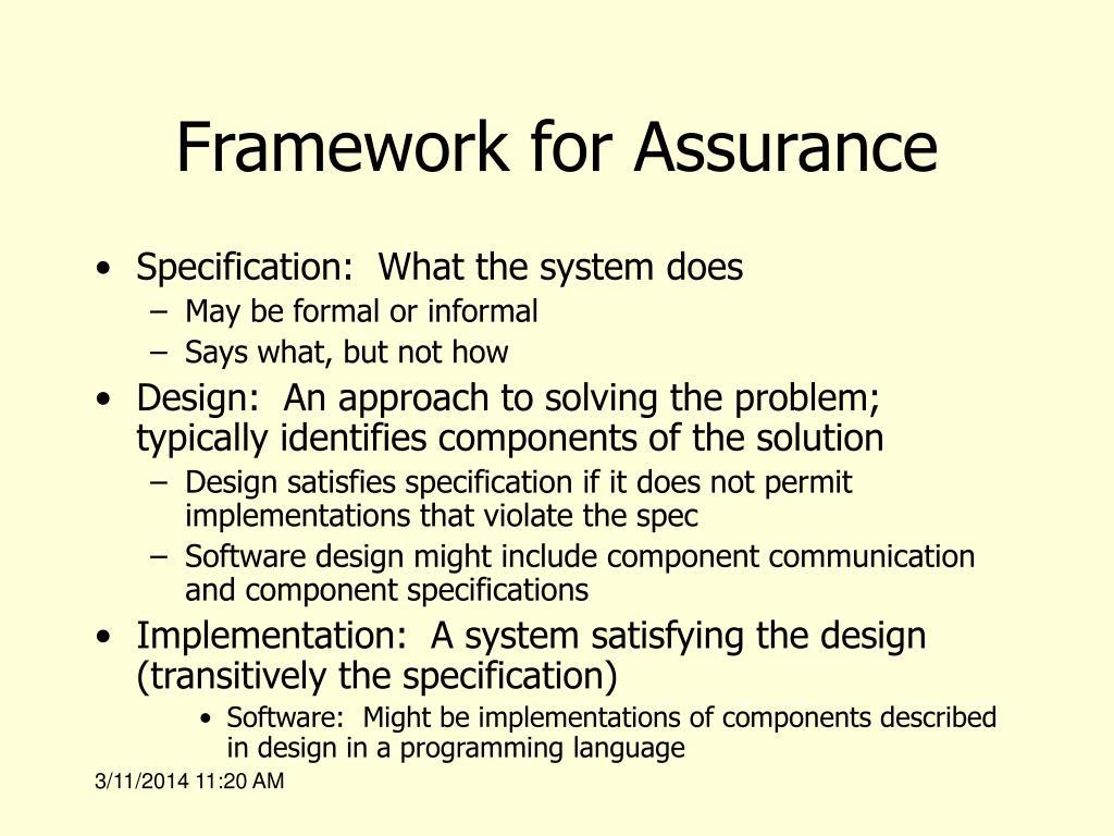 Framework for Assurance