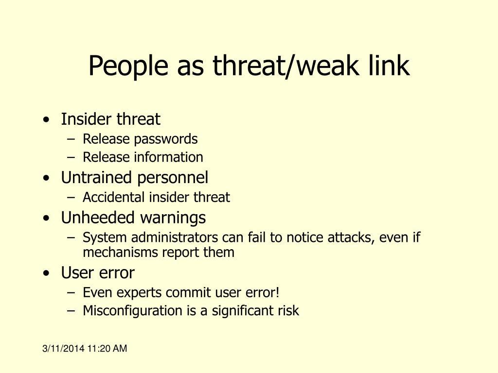 People as threat/weak link