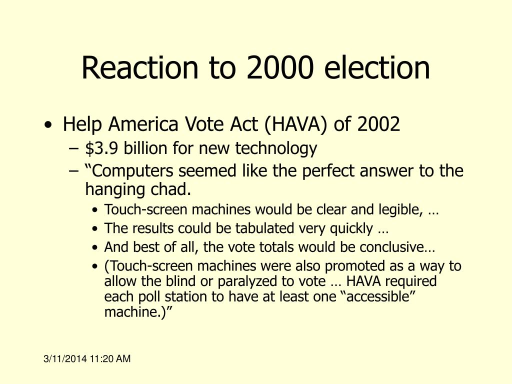 Reaction to 2000 election