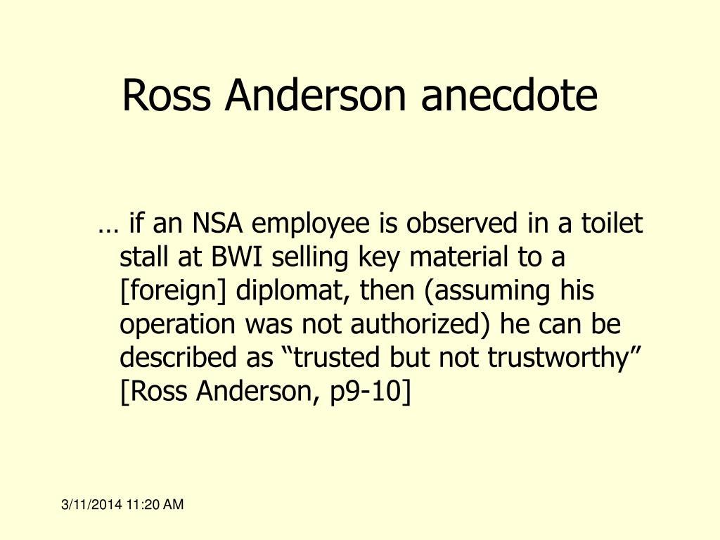 Ross Anderson anecdote