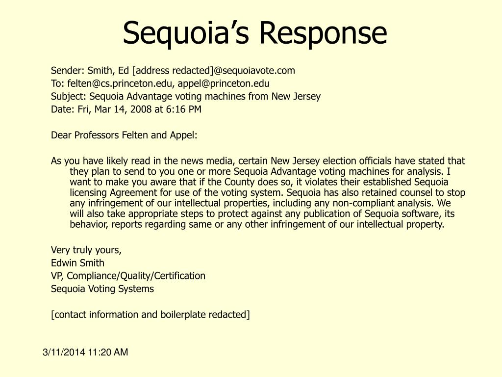 Sequoia's Response