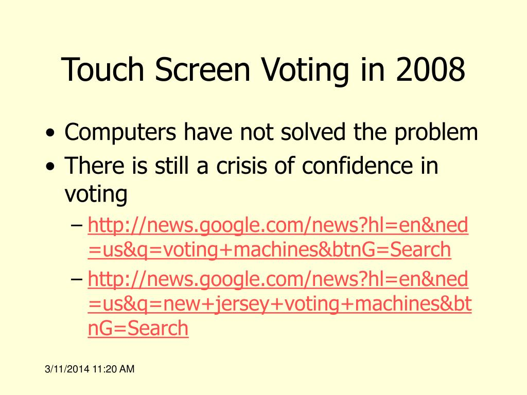 Touch Screen Voting in 2008