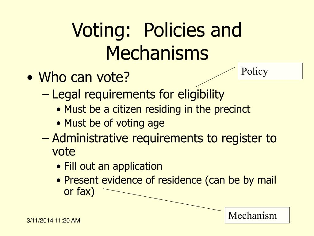 Voting:  Policies and Mechanisms