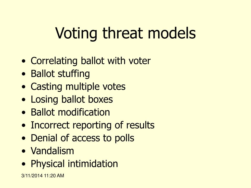 Voting threat models