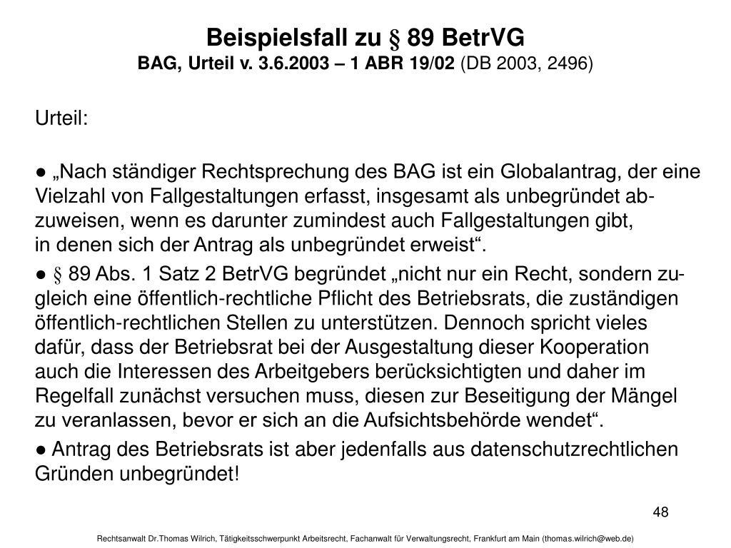 Beispielsfall zu § 89 BetrVG