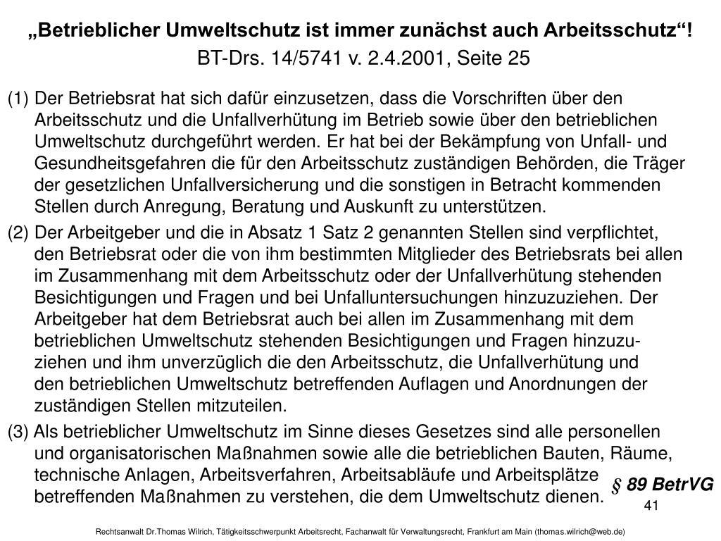 """""""Betrieblicher Umweltschutz ist immer zunächst auch Arbeitsschutz""""!"""