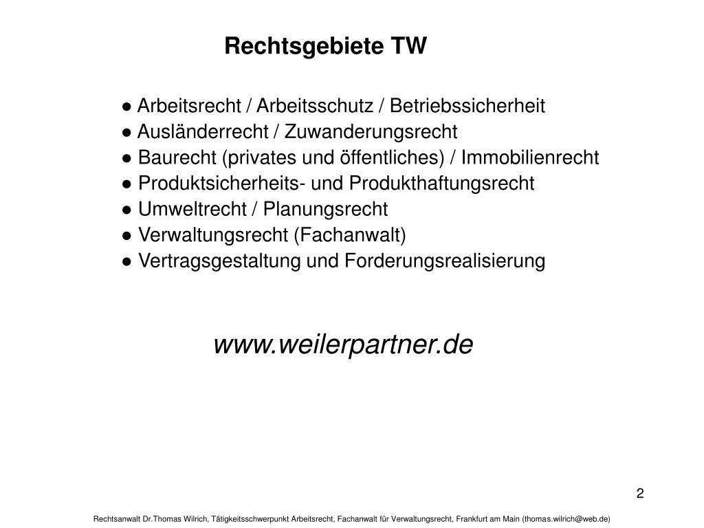 Rechtsgebiete TW