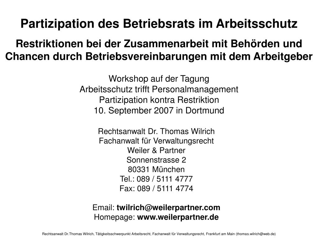 Partizipation des Betriebsrats im Arbeitsschutz