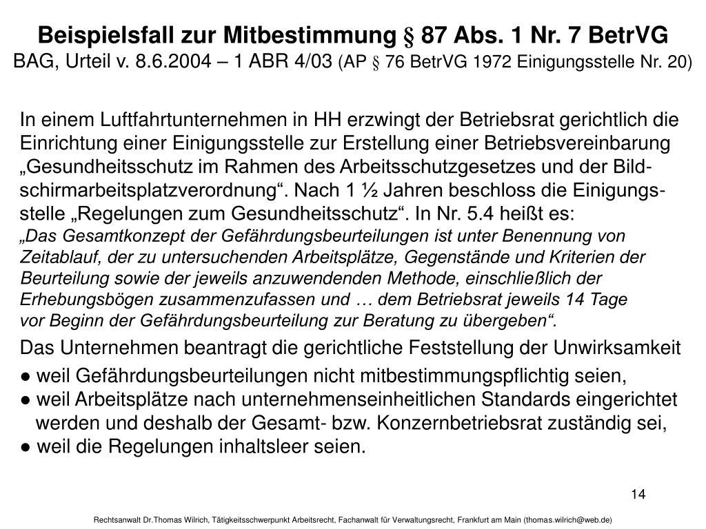 Beispielsfall zur Mitbestimmung § 87 Abs. 1 Nr. 7 BetrVG
