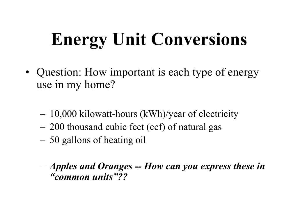 Energy Unit Conversions