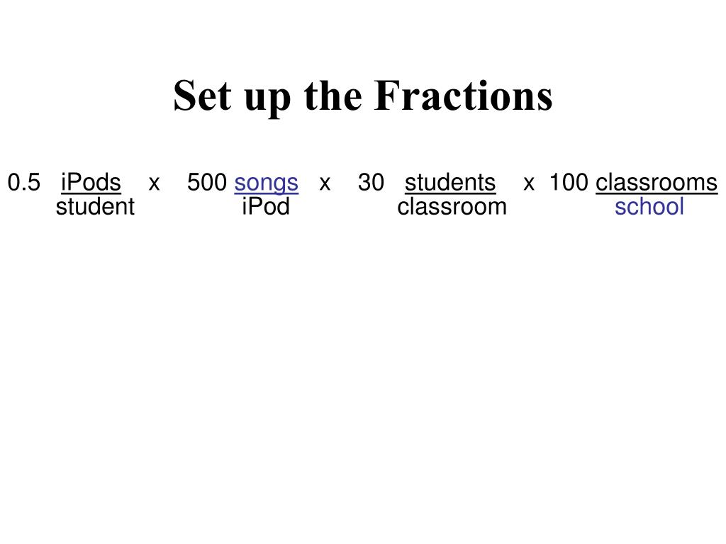 Set up the Fractions