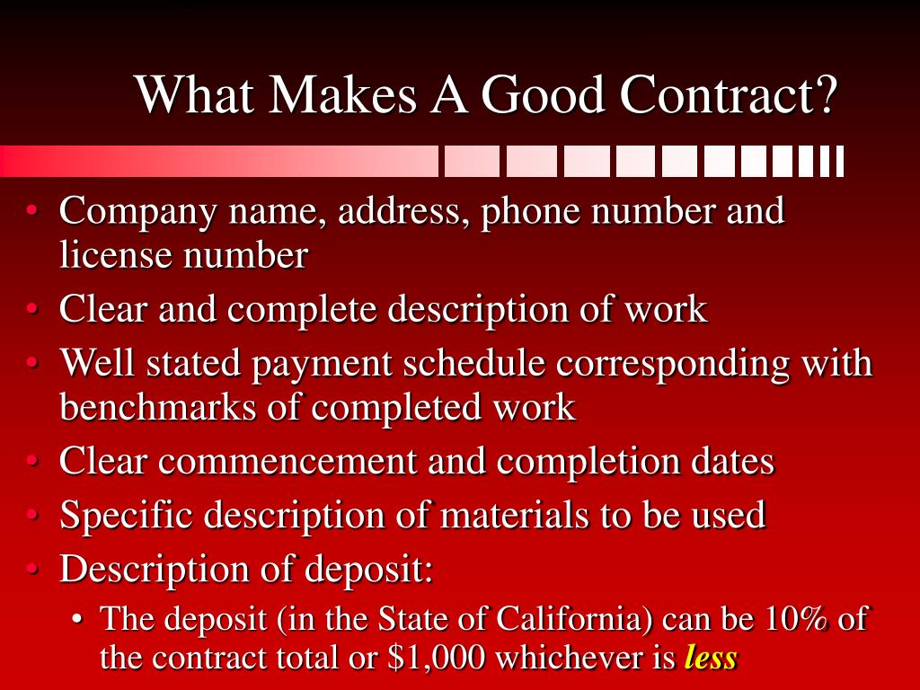 What Makes A Good Contract?