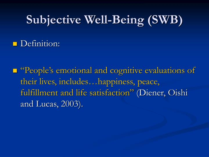 subjective well-being essay Keywords: subjective well-being, happiness, life satisfaction, affect, income,   this thesis consists of four self-contained essays in economics, all concerned.