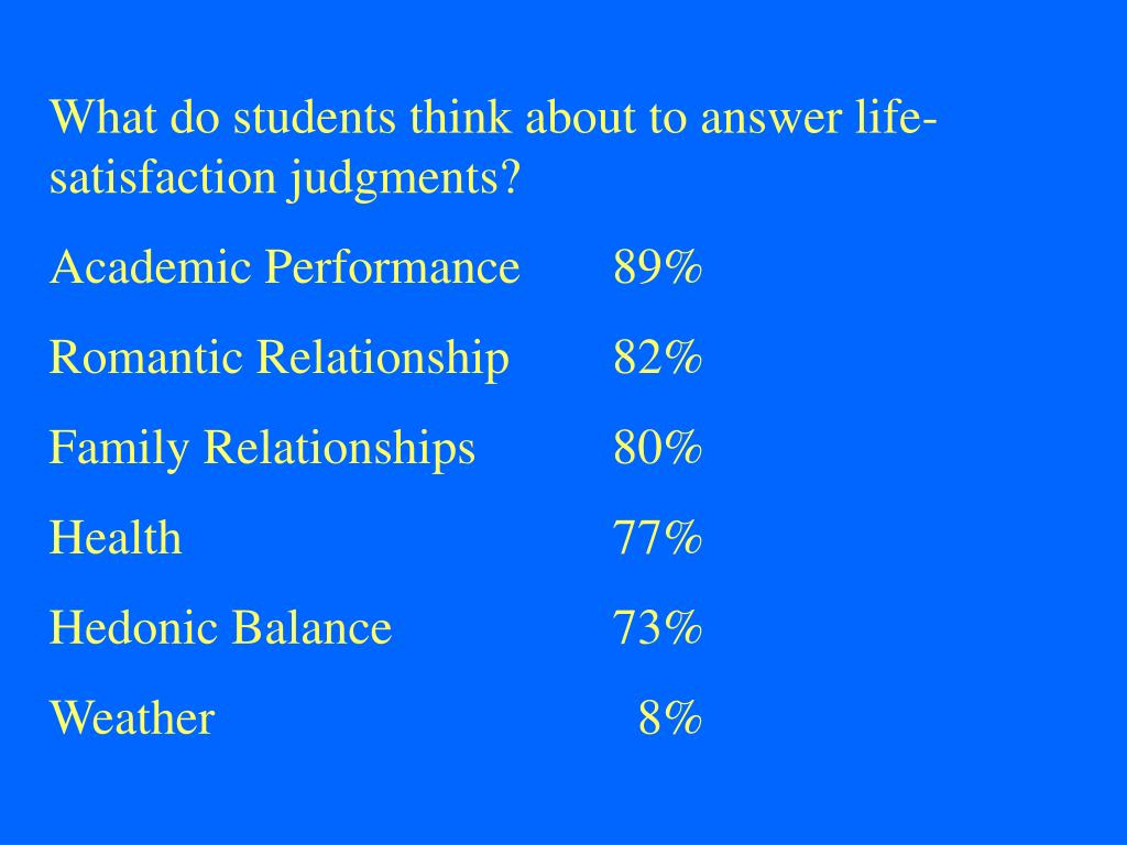 What do students think about to answer life-satisfaction judgments?