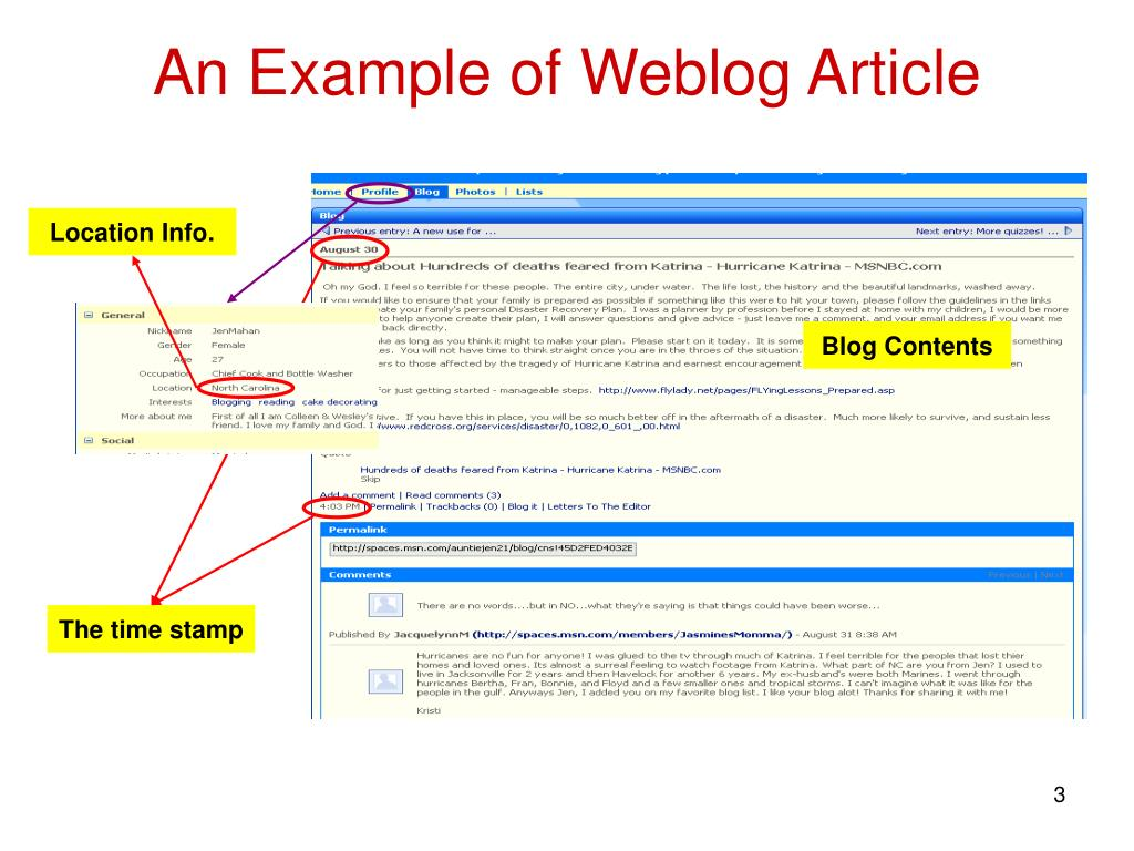 An Example of Weblog Article