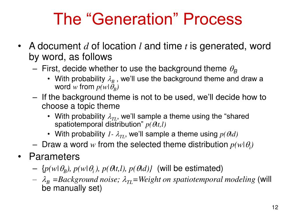 "The ""Generation"" Process"