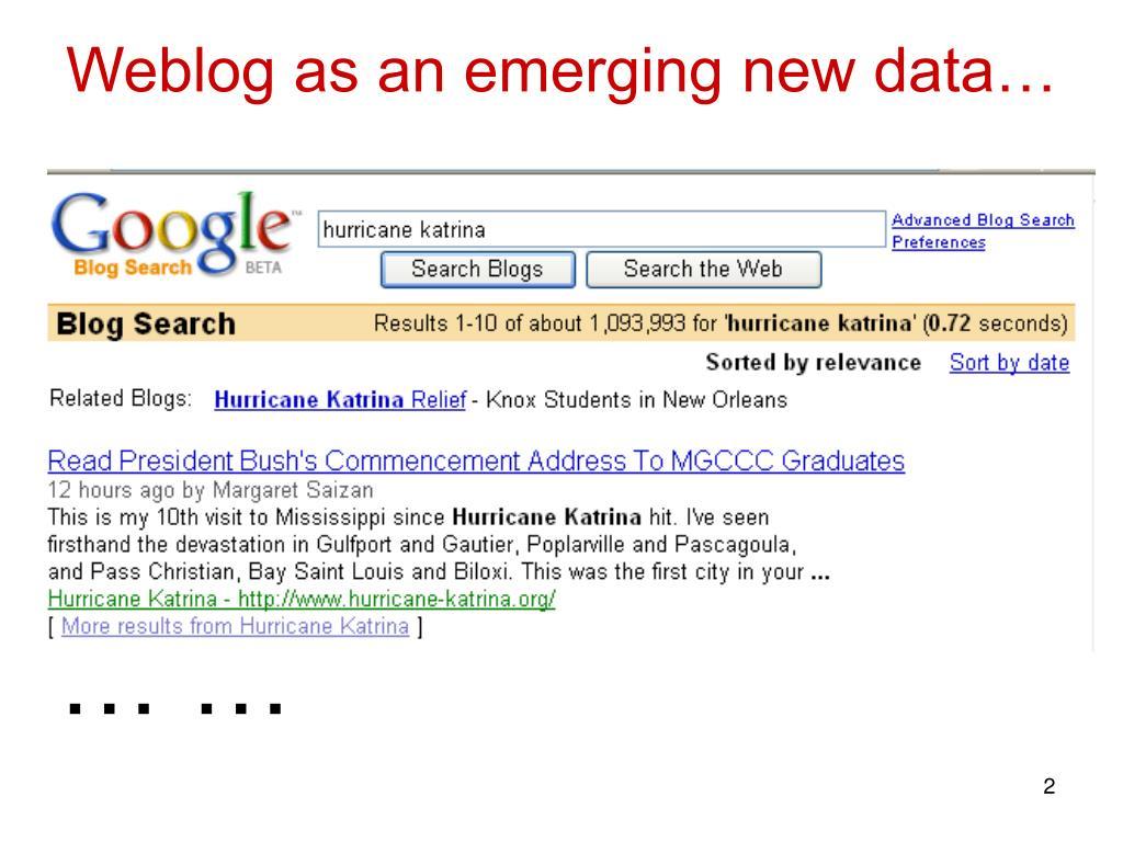 Weblog as an emerging new data…