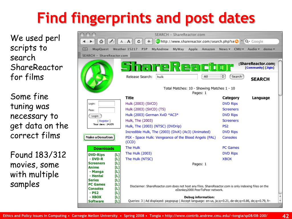 Find fingerprints and post dates