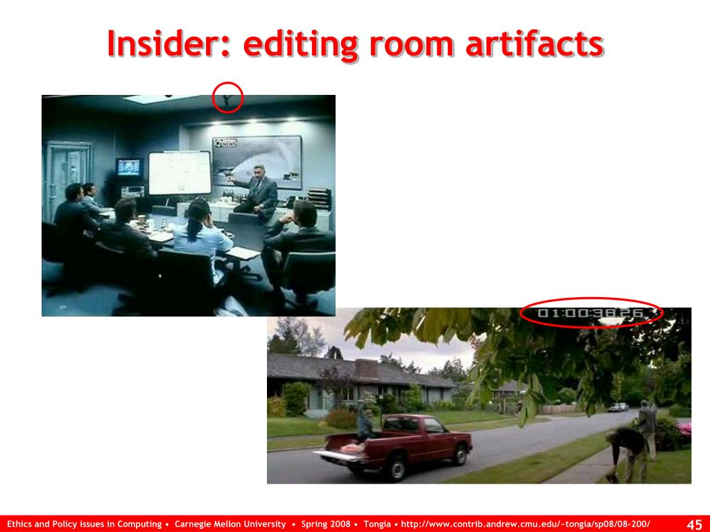 Insider: editing room artifacts
