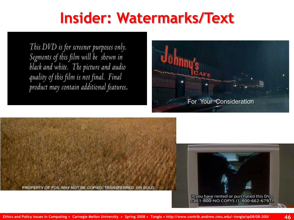 Insider: Watermarks/Text