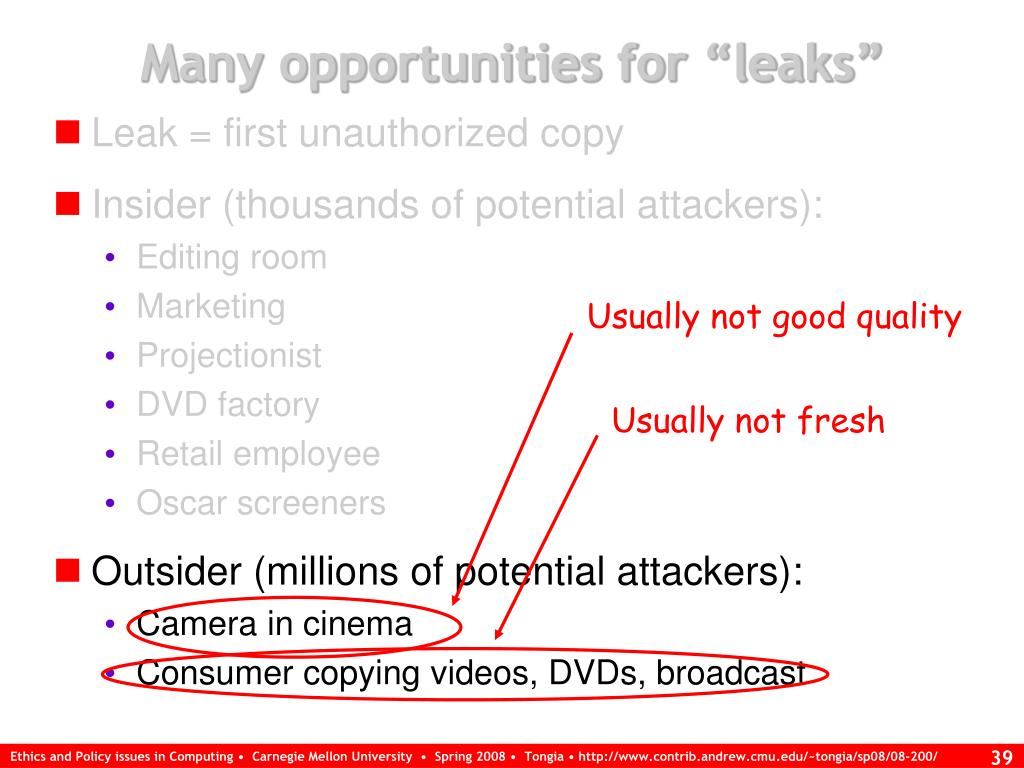 "Many opportunities for ""leaks"""