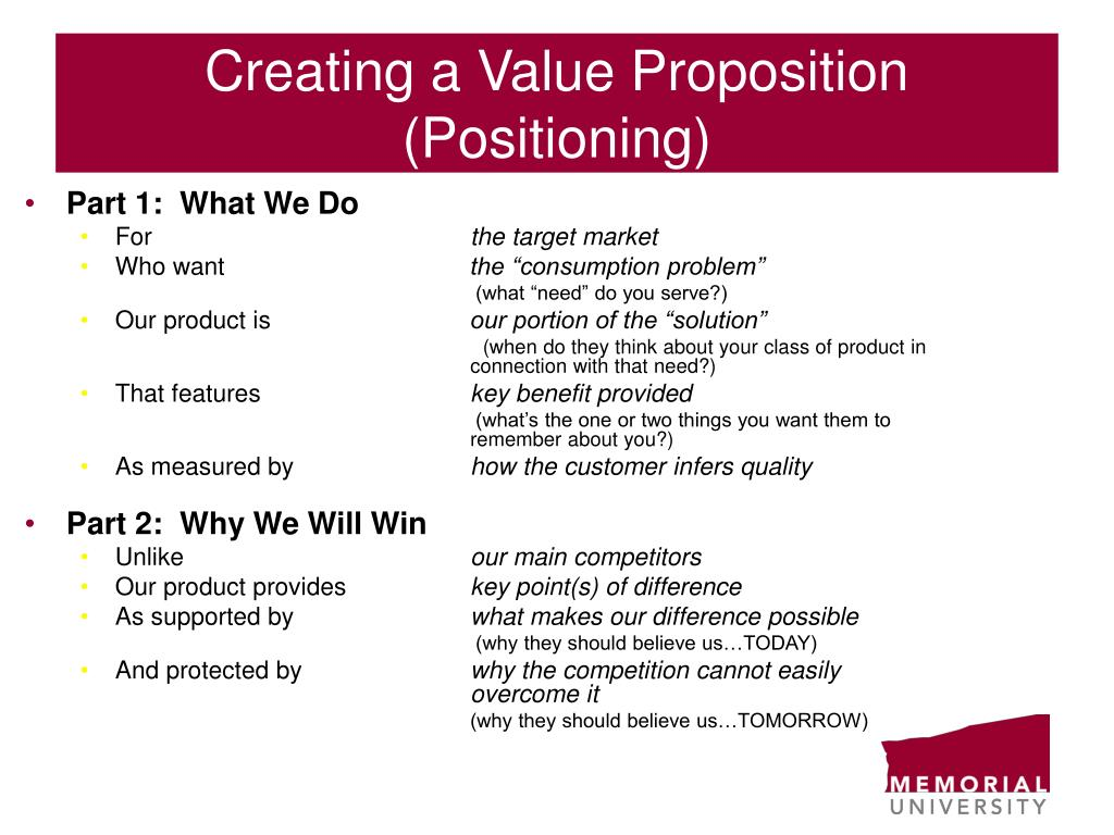 Creating a Value Proposition (Positioning)