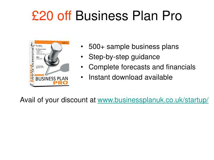 20 off business plan pro