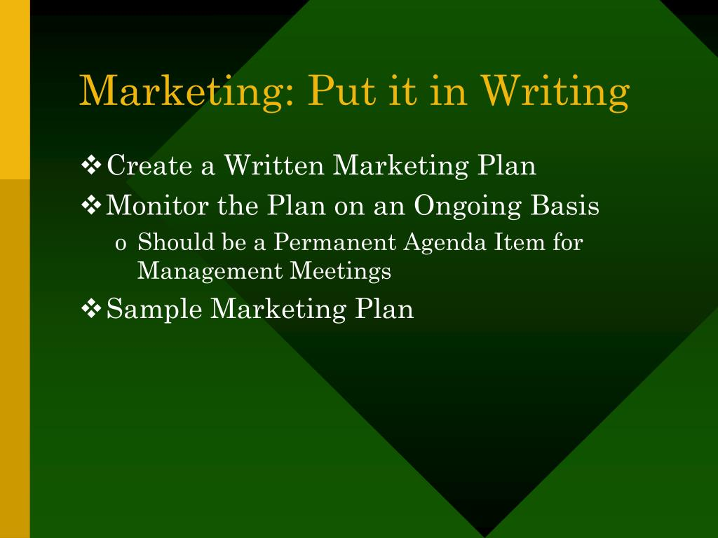 Marketing: Put it in Writing
