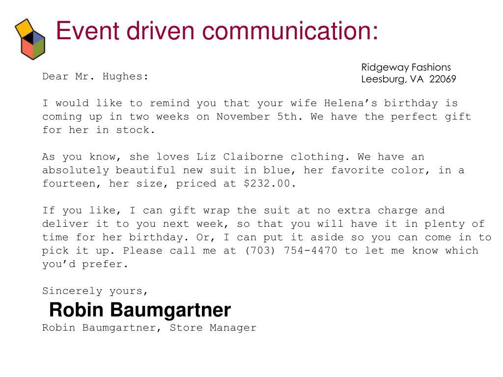 Event driven communication: