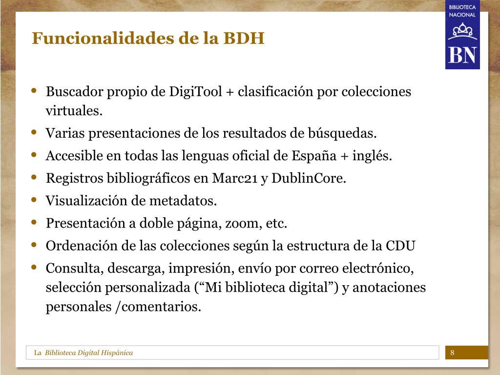 Funcionalidades de la BDH