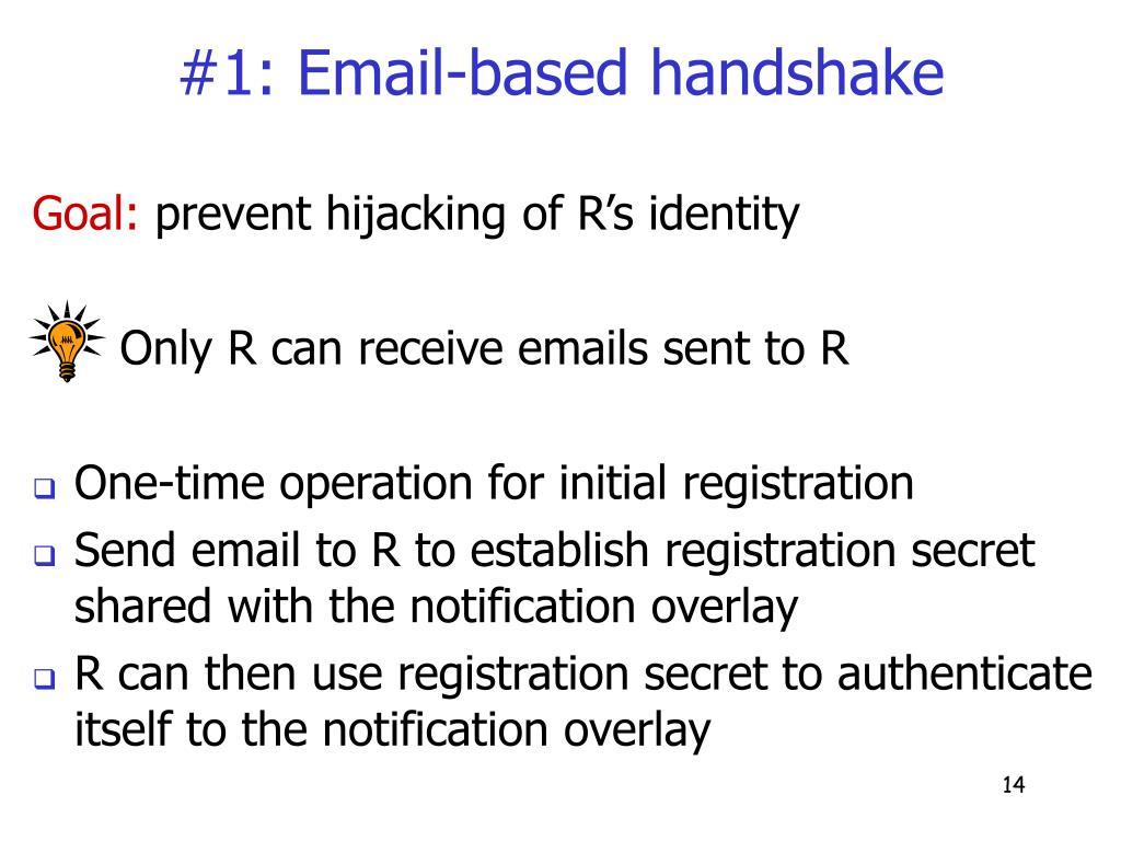 #1: Email-based handshake