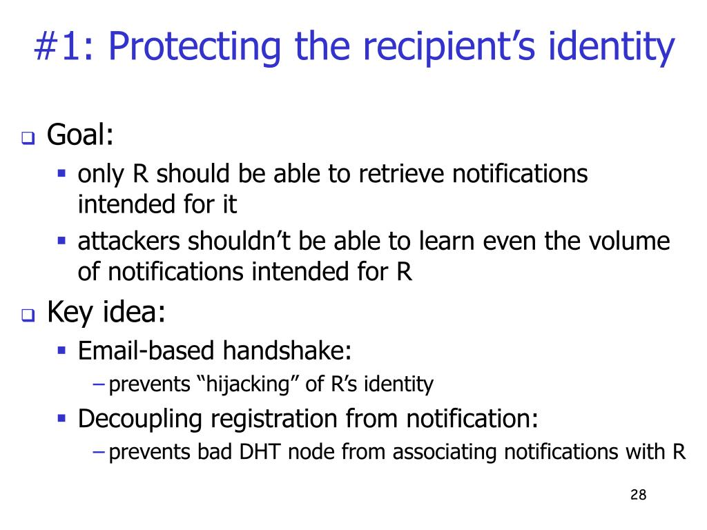 #1: Protecting the recipient's identity