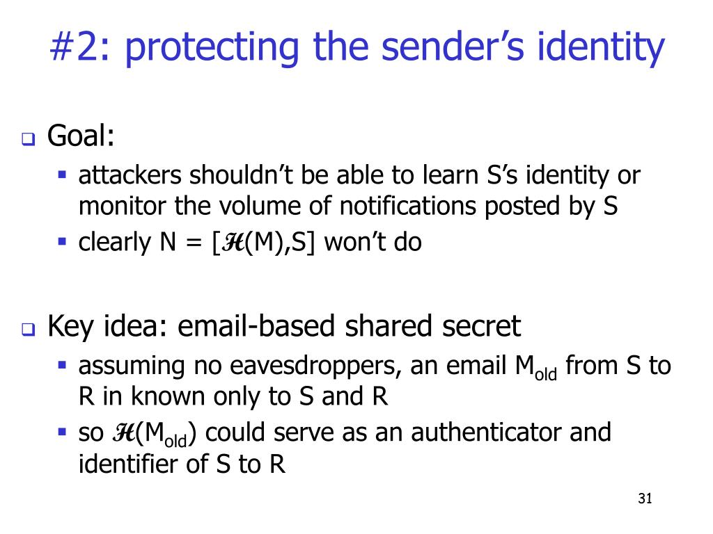 #2: protecting the sender's identity