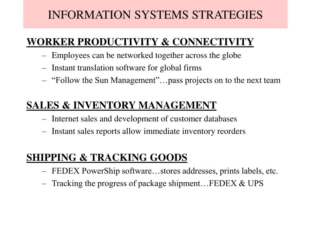 INFORMATION SYSTEMS STRATEGIES
