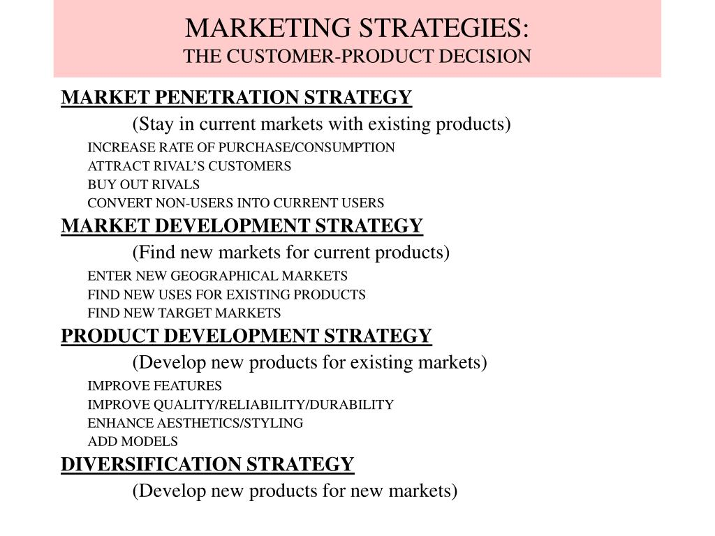 MARKETING STRATEGIES: