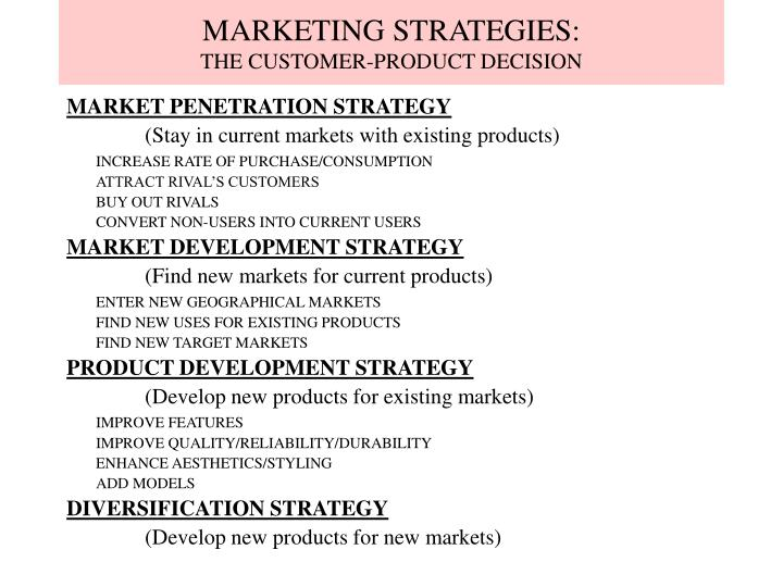 Marketing strategies the customer product decision