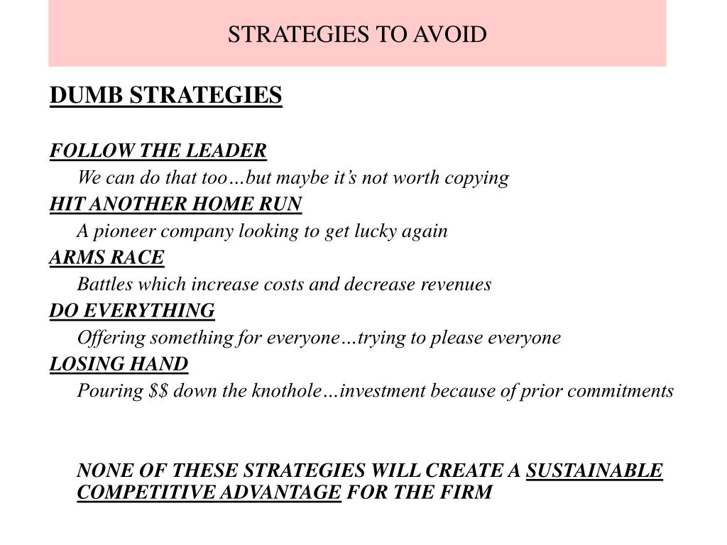 STRATEGIES TO AVOID