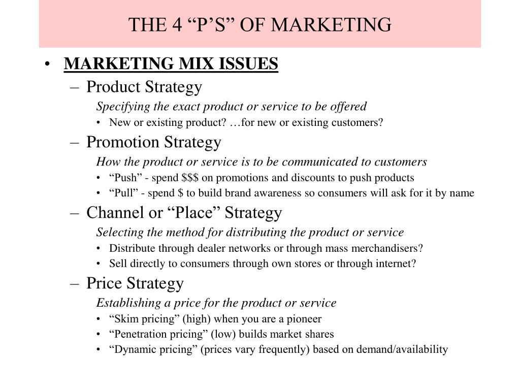 "THE 4 ""P'S"" OF MARKETING"