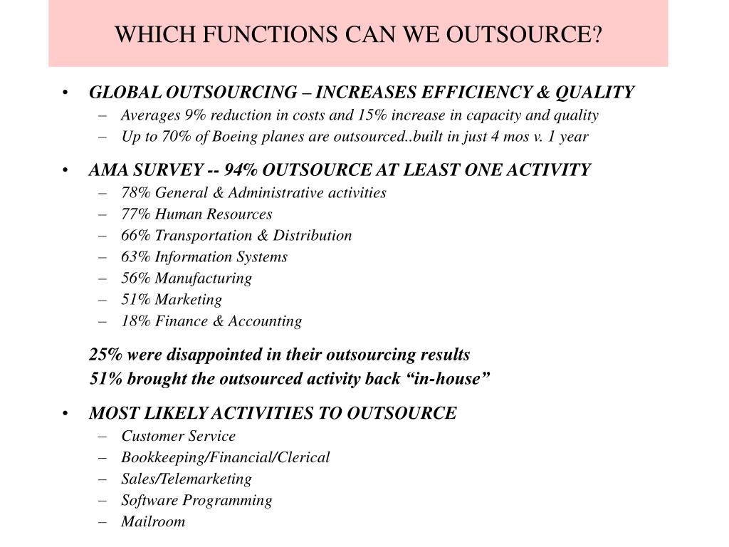WHICH FUNCTIONS CAN WE OUTSOURCE?