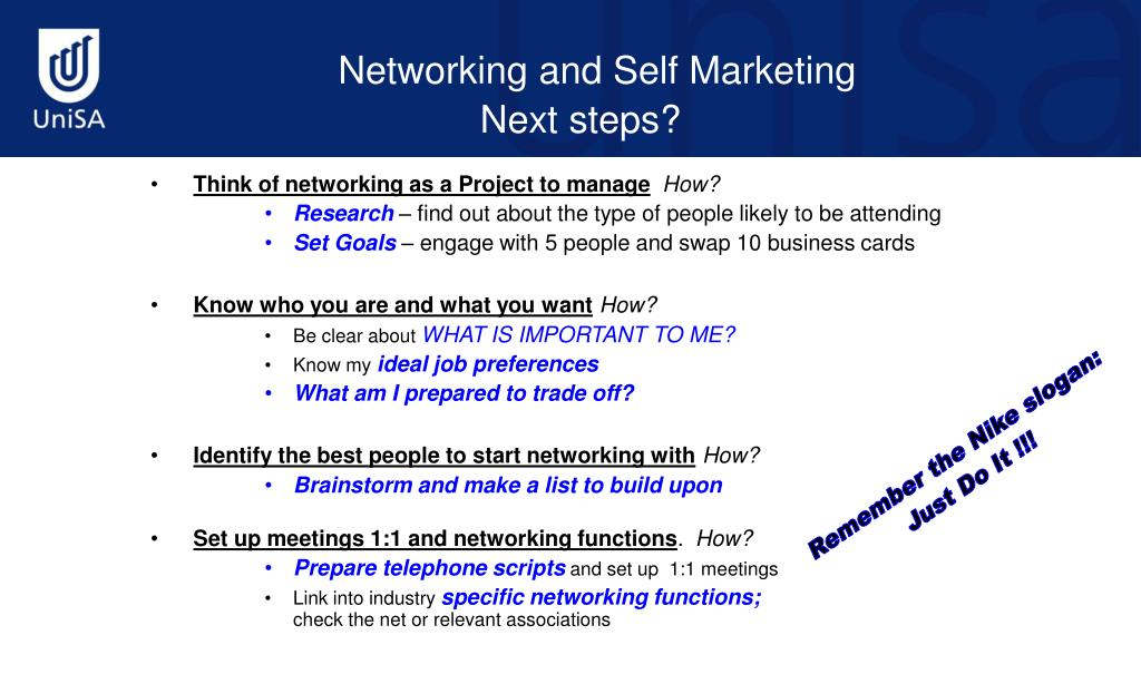 Think of networking as a Project to manage